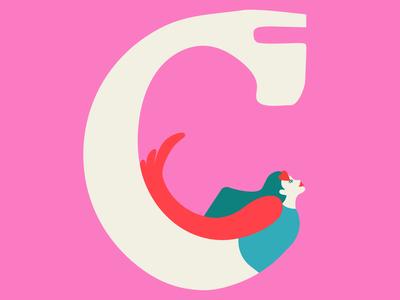 """C"" for 36daysoftype 💘 darif editorial magazine jeffreycampbell fashion picame buckubuck flying superwoman woman bird flyer dariaf art shoes heels girls drawing farstudio dashaf"
