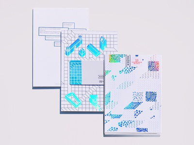 museum pass card isometric dasha f. grid foil rainbow holography pattern city house  museum architecture