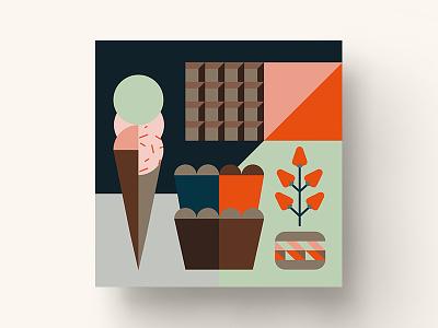 Illustration for the Financier Cafe muffin card dasha f. ice cream cafe branding pattern chocolate cake sweet birthday strawberry