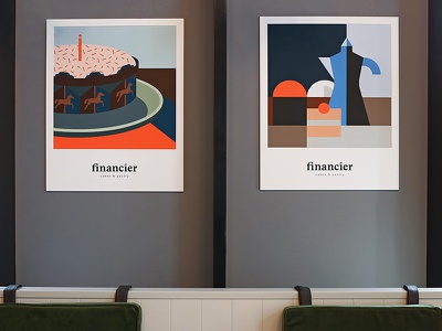 Posters for the Financier cafe food birthday sweet coffe cake poster pattern branding cafe cherry dasha f. kitchen