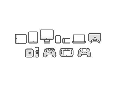 Devices nintendo playstation wii u xbox apple tv phone iphone desktop imac tablet ipad icons