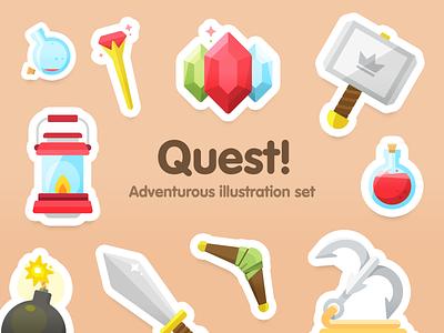Quest! illustration set lantern sorcery magic diamonds fantasy sword chest potion bomb quest illustration
