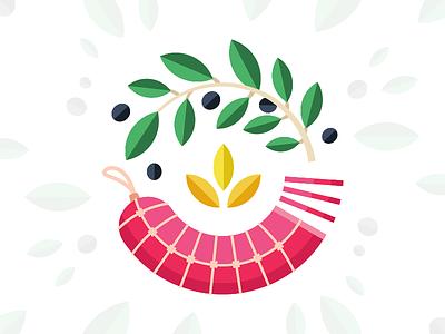 Brand Illustration | Salami Circle mark brand olive salami food