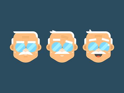 Mood cycle old man illustration face mood character