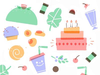 SARAS SOTSAKER illustration brand identity branding pattern cake vegan pastry shop pastry
