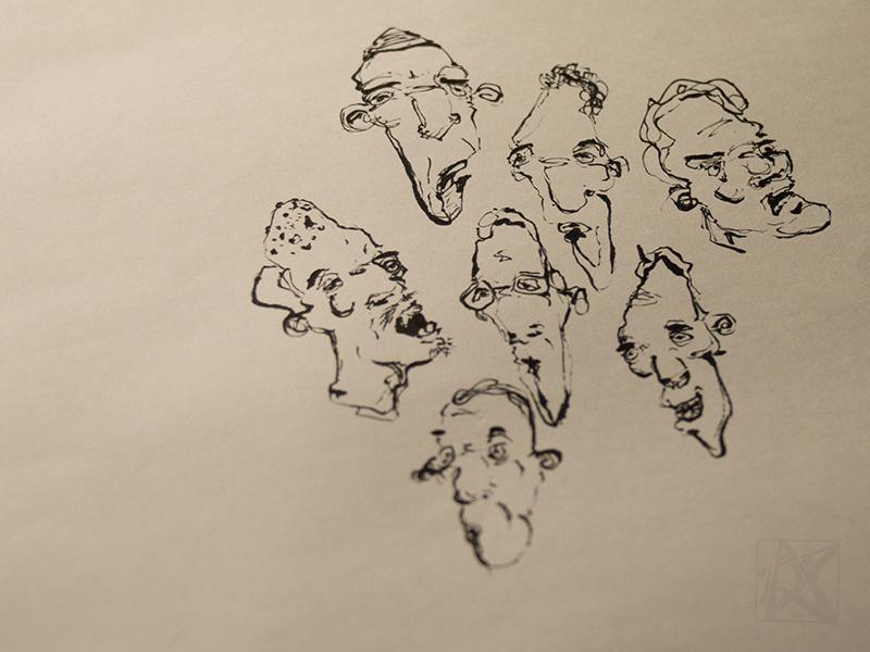 heads freehand heads draw