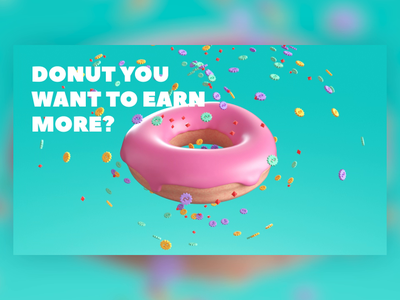 Donut you want to earn more? lottie desert branding animation gif animated 3d blender redshift otoy octane cinema 4d c4d minimalist icon donut