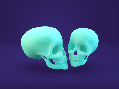 CGI: Rubber skulls zbrush subsurface scattering cinema 4d shader skulls rubber minimalist design flat c4d 3d