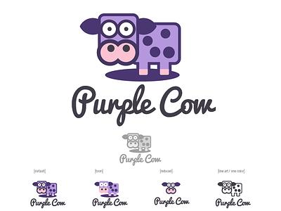 Purple Cow Logo Design w/variations cute funny modern vector branding illustration icon flat cow design logo