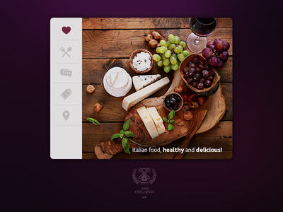 Organic food widget template kit photoshop creative app design gui ui flat restaurant organic widget