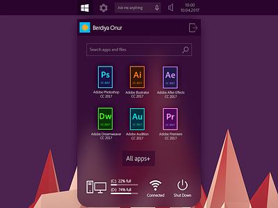 Windows Start Menu Concept clean adobe windows 11 windows 10 widget style ios flat gui ui concept windows