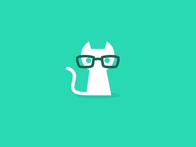 Geek Puss flat icon clean circles geometric design minimalist puss cat smart geek logo