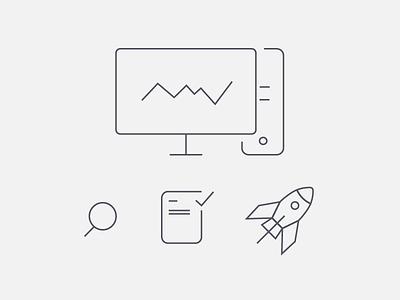 Casestudy light thin flat statistics analytics study case icons minimalist