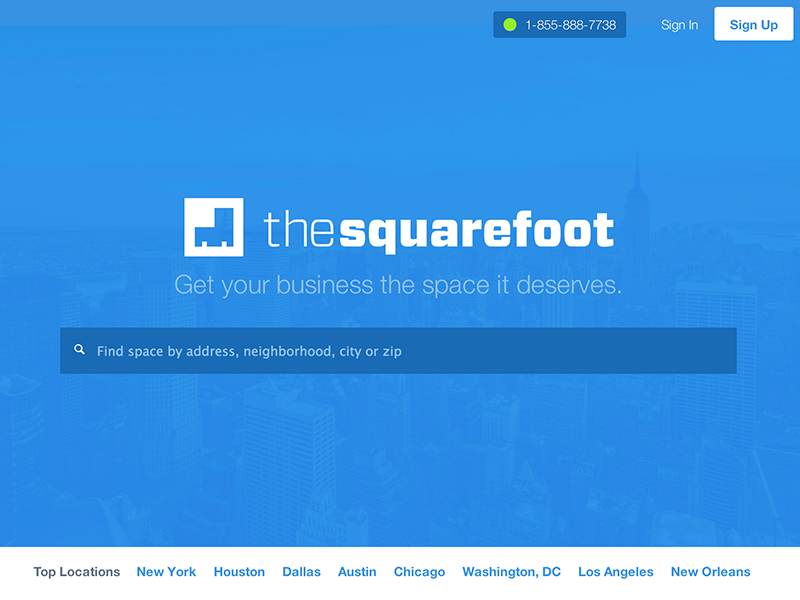TheSquareFoot's New Look website thesquarefoot redesign launch responsive blue startup commercial real estate