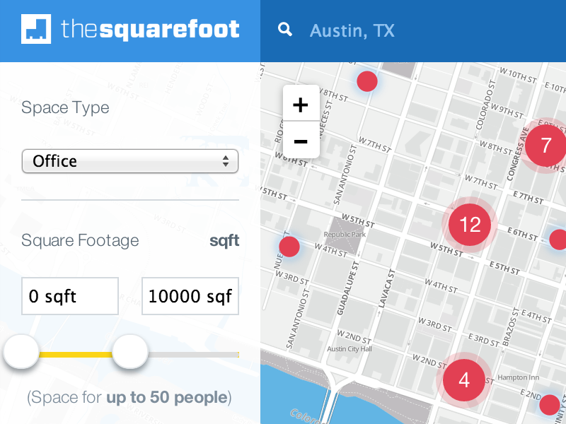 TheSquareFoot's New Search website thesquarefoot redesign launch responsive blue startup commercial real estate search map