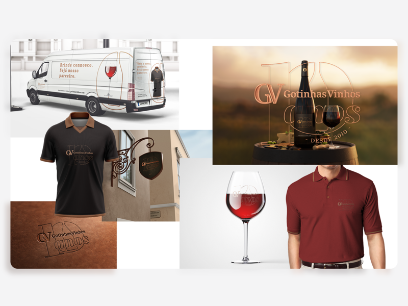 Gotinhas Vinhos - 10 Anos - Moodboard years polo shirt wine bottle wine glass van one color logotype ten 10 aniversary wine logo wine mood board design identity logotipe logo monogram moodboard