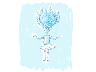 Finger drawing light person line drawing figure sketch air ipad cold girl character illustration
