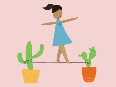 Tightrope girl skills. walking balance cactus paper-app illustration girl tightrope