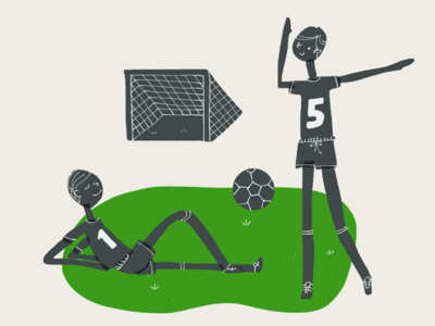 Football time! team goal grass ipad paper app illustration sports game players field soccer football