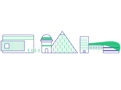 Building Icons modern modernist line architecture building icon