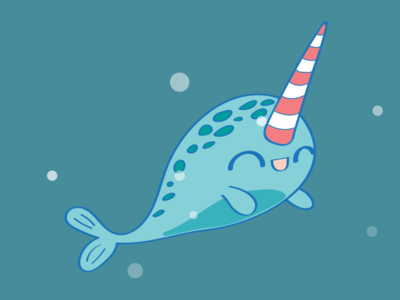 Dreamy The Narwhal cute character sea ocean fish animal narwhal illustration