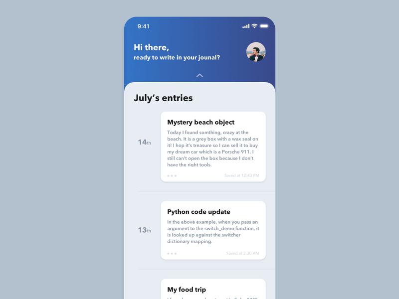 Journal entries app by Brandon Jacobi on Dribbble