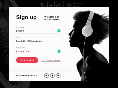 #dailyui #001 music signup register login 001 dailyui