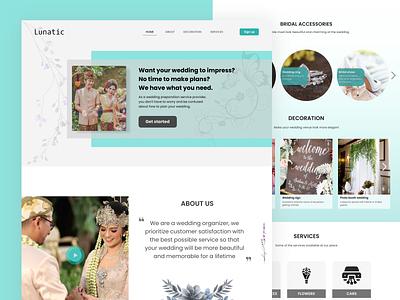 Wedding Organizer Website clean simple modern wedding website typography ui design
