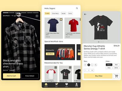 Shop clothes mobile application modern ux t-shirt clothes mobile application ui simple design clean online shop