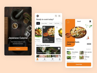 Recipe cooking mobile apps food application apps mobile simple recipes cooking modern ux ui design clean