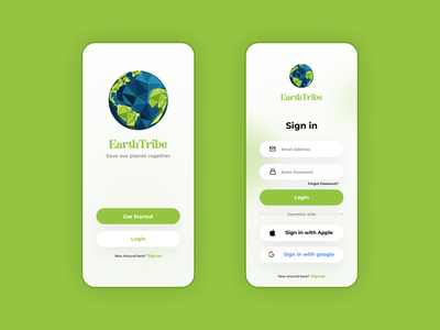 EarthTribe - Login Signup Screen uiux design uiux green ui login signup screen login signup signup login branding graphic design ui