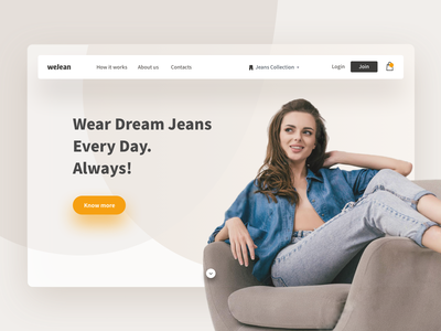 WeJean Concept ui girl brand clothes brown jeans landing