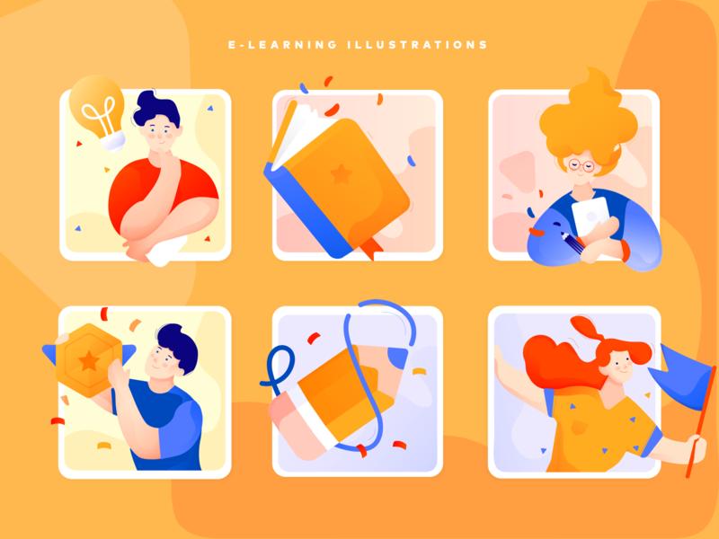 e-learning illustrations goal achievement idea teacher book digital orange app flat school e-learning illustration