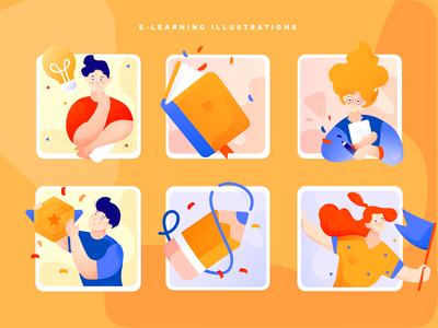 e-learning illustrations goal achievement idea teacher book digital orange app flat school e-learning illustration