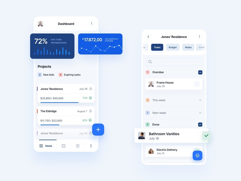 The Build - Application manager project dashboard charts contacts search budget cards mobile shadow light white website minimal clean blue digital design app builders