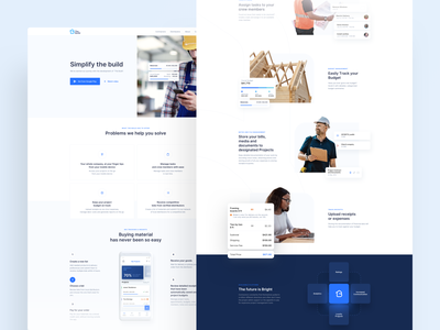 The Build - WWW buildings page landing gradient white website clean digital design minimal blue shadow dashboard mobile app mobile chart building www