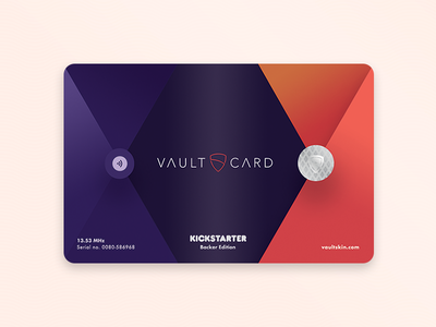VaultCard - special edition kickstarter gradients colours plastic card signal rfid pocket wallet bank credit card card