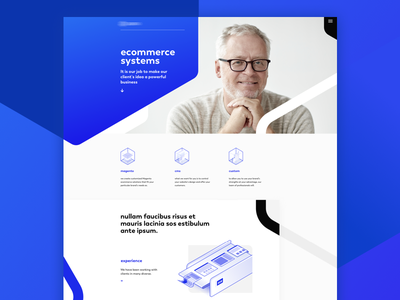Ecommerce Systems digital shapes minimalistic design icons clean white blue polygon gradient isometric illustration