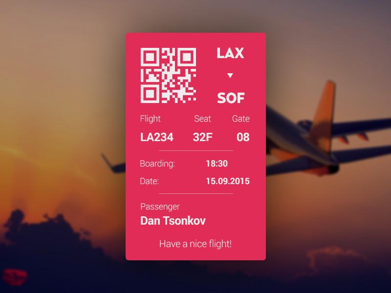 011 - Boarding Pass qr plane passenger pass flight code boarding ticket scanner bar