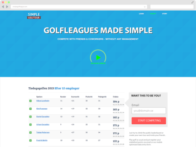 Simple Golfleague Landingpage landingpage golf website