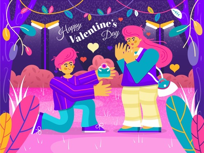 Man Proposing Woman On Valentine's Day valentine vector artwork art yellow green pink red purple forest leaf heart love couple tree graphic design background illustration design colorful