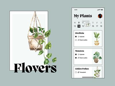 Flovers - Take Care Of Them reminder app to-do todoist task feed home mobile brutalism calendar todo details flowers plants illustration design wroclaw nomtek ux ui