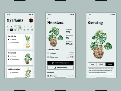 Flovers - Take Care Of Them interface ui ux nomtek designwroclaw watercolor plants flowers details todo calendar brutalism mobile home feed task todoist to-do app reminder