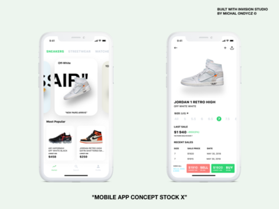 Stock X App Concept carousel stockx invision studio feed details sneakers nomtek hire