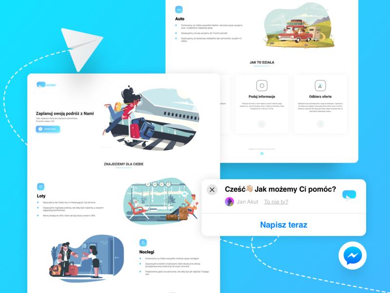 Bukomat.pl website clean minimalistic case study uix website flights booking vacation messenger webflow web landing page nomtek