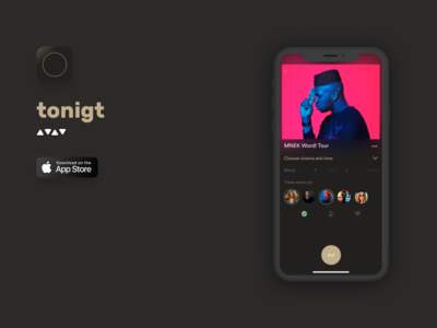 tonigt mvp concerts design ios darkmode cinema party event party social blur wroclaw ui ux home feed details nomtek