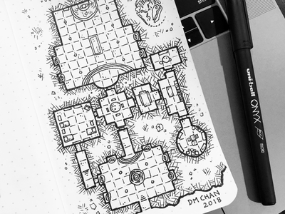 Hidden Temple field notes nerd drawing art sketch maps dd dungeons and dragons dungeon map