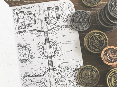 River crossing field notes nerd map coins drawing doodle sketch art pen dd dungeons and dragons dungeon map