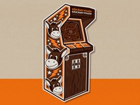 RETRO ARCADE sticker illustration retro design arcade machine 80s style 80s sticker mule sticker art