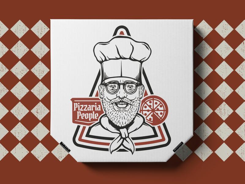 Pizza Box Mockup   PIZZARIA PEOPLE  10 retro logo graphic merch branding design illustration pizza box pizza logo pizza